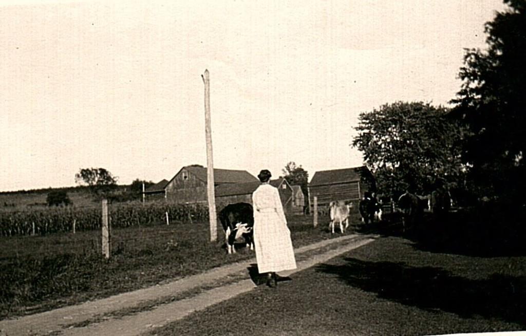 Hazel's mother, Lucretia, walking through the family's Leigh Street farm