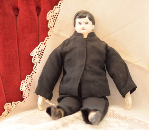 #8 (boy doll with black outfit) – 13 inches, with painted black shoes